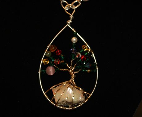Custom Made Tree Of Life Pendant With 14.7ct Opal Rough In The Roots