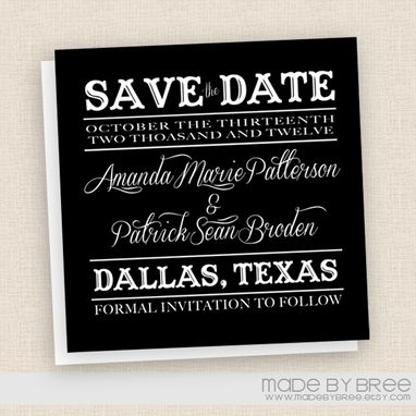 Custom Made Vintage Style Save The Date