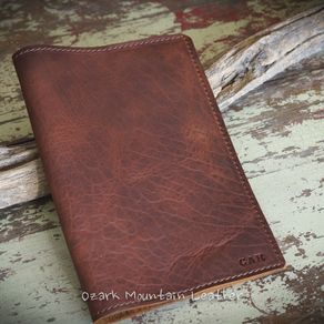 64d6128dd5 Bison Leather Custom Book Or Bible Cover With Initials Or Name In Right  Lower Corner by