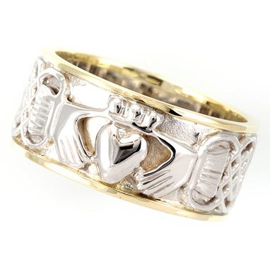 Custom Made Irish Claddagh Ring In 14k White & Yellow Gold Ring, Claddagh Ring