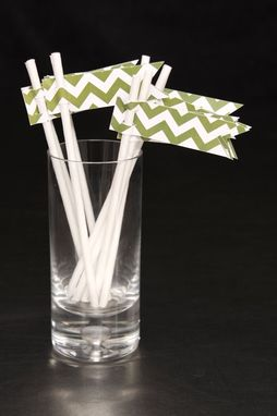Custom Made Wedding Straw Flags - Green Chevron - Drink Stirrers - Paper Straw Flags