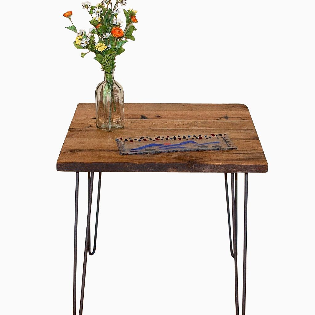 Buy hand made reclaimed wood end table with hairpin legs for Wooden end table legs