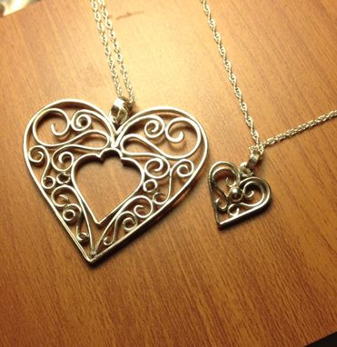 Custom Made Sterling Silver Filigree Large Heart Pendant With Nesting Small Heart Pendants