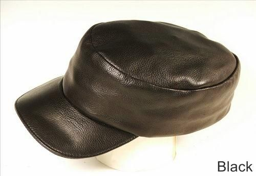 Custom Made Black Leather Painter Cap