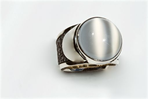 Custom Made Indian Moon Stone Ladies Ring, 14kt White Gold, Forged Stainless Steel, Size 9