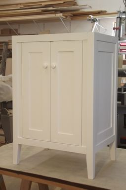 Custom Made Warm White Lacquered Shaker Vanity