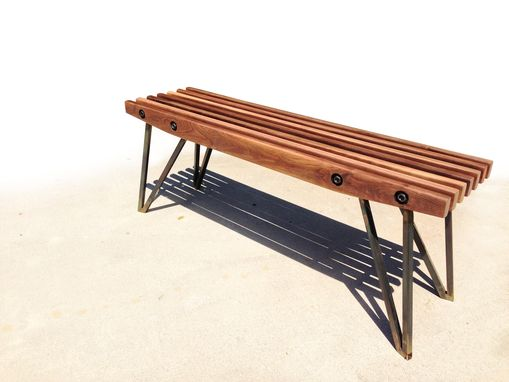 Custom Made Walnut Slat Bench