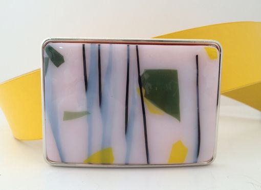 Custom Made Yellow, White And Green Confetti Fused Glass Belt Buckle