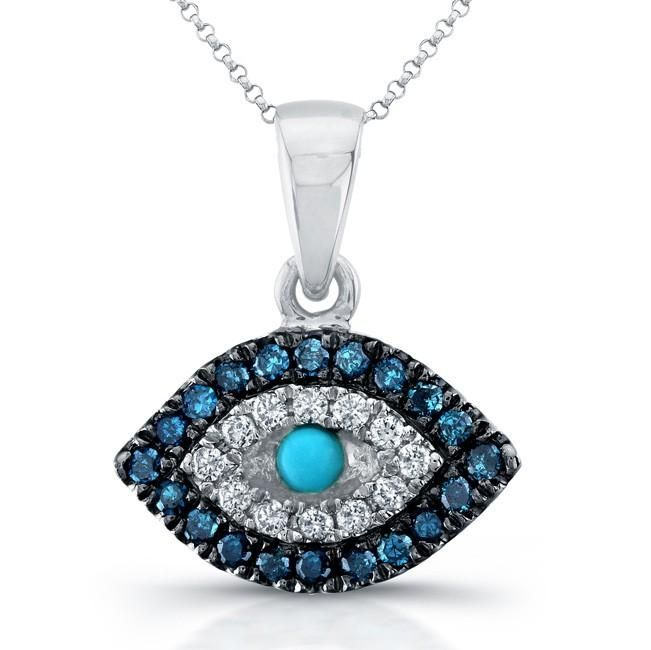 Hand made 14k white gold evil eye pendant blue white diamonds by custom made 14k white gold evil eye pendant blue white diamonds aloadofball Image collections