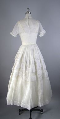 Custom Made Vintage 1940s Wedding Dress In White Cotton Voile With Tiered Skirt S Xs Gorgeous Illusion Neckline