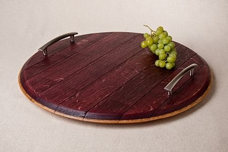 Custom Made Wine Barrel Cheese Board With Handles