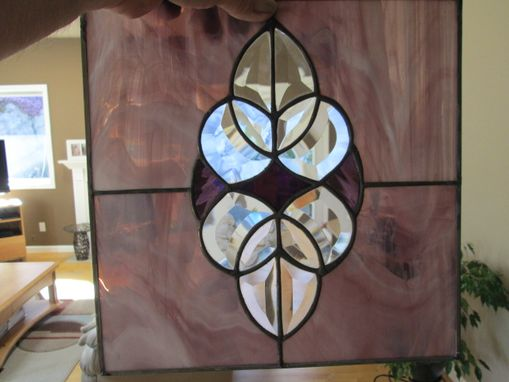 Custom Made Beveled Glass And Purple Stained Glass Suncatcher