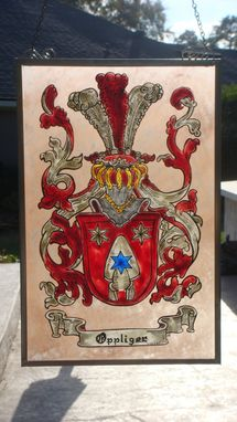 Custom Made Family Crest In Painted Glass