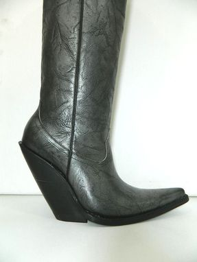 Custom Made Made To Order Bull Neck Black Silver Shade Cowboy Boots Sharp Toe 5 Inch Slanted Heels