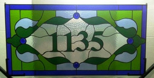 Custom Made Stained Glass Transom Window Panel --- Baltimore Row House (Am-21)