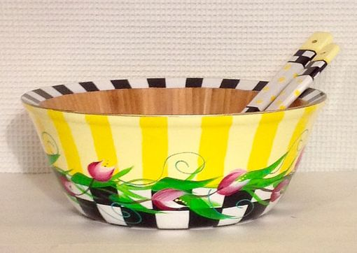 Custom Made Painted Bowl // Painted Salad Bowl Set // Whimsical Painted Wood Bowl Set