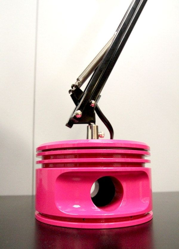 Hand Crafted Pink Princess Piston Art Lamp by Plane Pieces