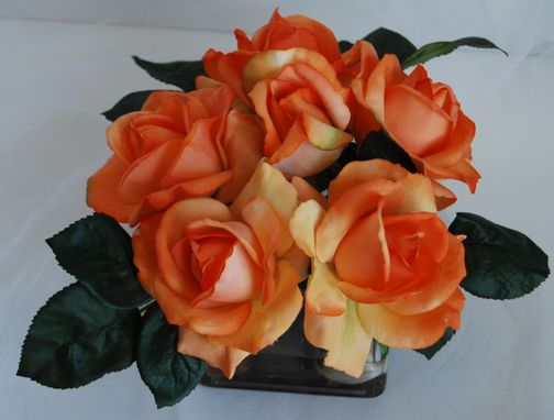 Custom Made Orange Roses In Glass Vase