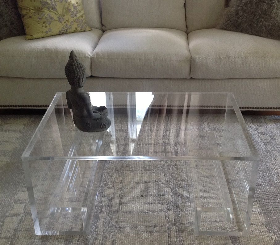 Buy A Hand Made Acrylic Coffee Table With Greek Key Base