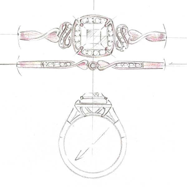Our design sketch for a cushion halo engagement ring with infinity symbols on either side of the band.