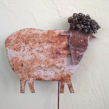 Custom Made Handmade Upcycled Metal Sheep Garden Stake