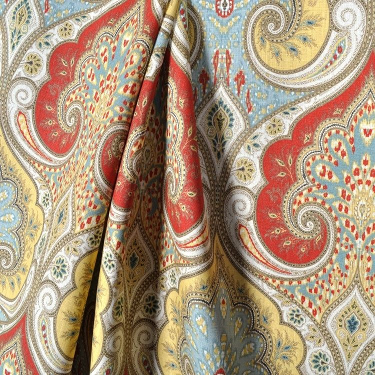 Hand Made Curtain Panels: Kravet Latika Paisley In Festival Red ...