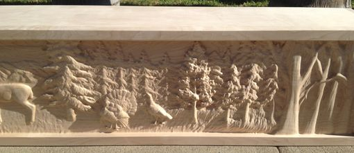Custom Made Deer And Turkey Mountain Scene Mantel