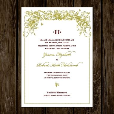 Custom Made Green Garden Wedding Invitations