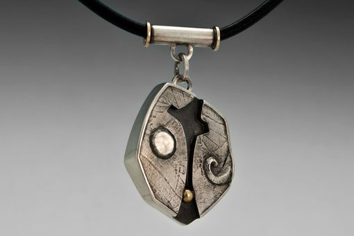 Custom Made Silver And Gold Anniversary Necklace, Ooak, Biker Pendant, Metalsmith