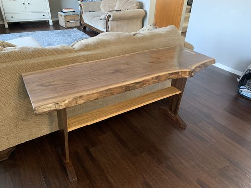 Custom Made Live Edge Walnut Sofa Table