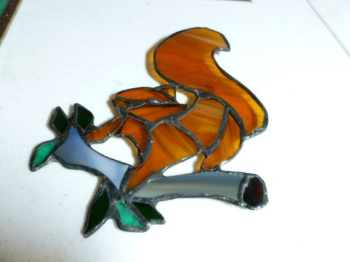 Custom Made Stained Glass Red Squirrel On Branch