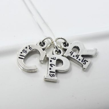 Custom Made Mother's Initial Necklace Hand Stamped With Birth Dates