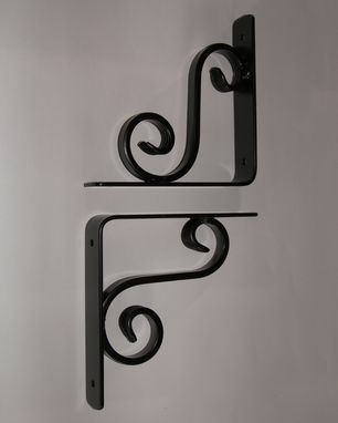 Custom Made Iron Shelf Brackets/Hand Forged Steel Corbels (Pair) | Powder Coated | Free Shipping!