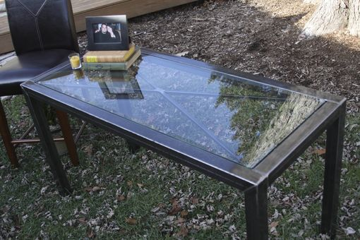 "Custom Made ""X"" Steel And Glass Side Table"