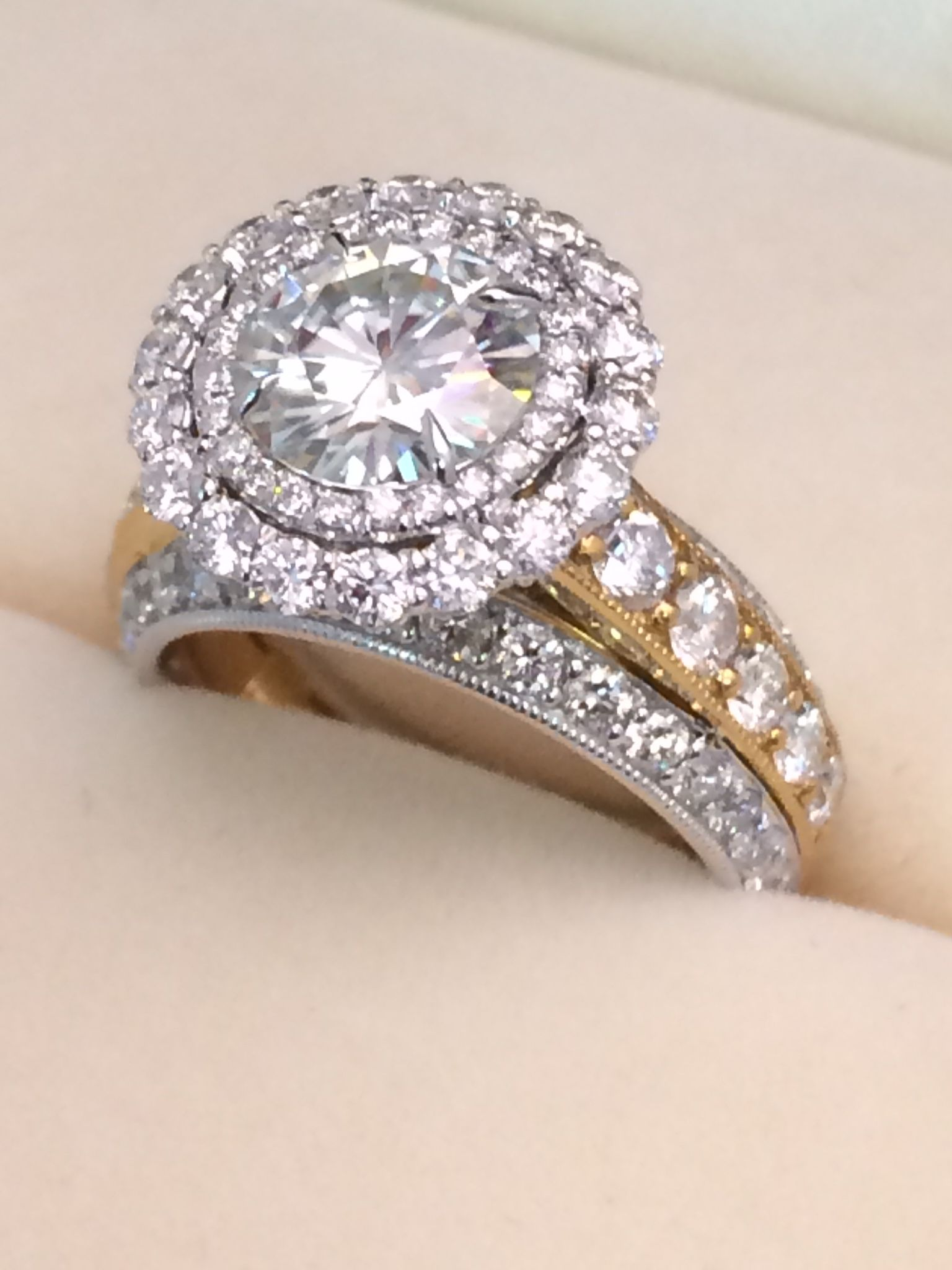 Hand Made Moissanite And Diamond Ring by Tulsa Diamond House