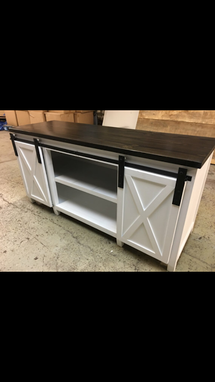 Custom Made Media Tv Barn Door Console