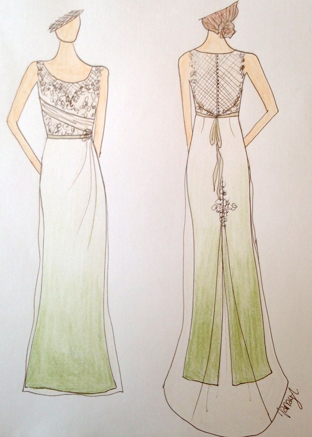 Buy Custom Made Pale Green Ombre Wedding Dress, made to order from ...