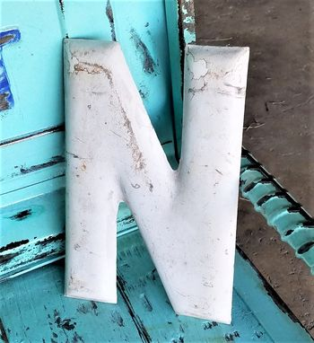 Custom Made Vintage Weathered Porcelain Metal Small Letter N  Sign
