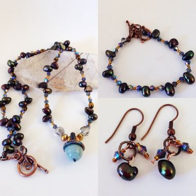 Custom Made Pearl And Crystal Necklace Set With Acorn Glasswork Focal