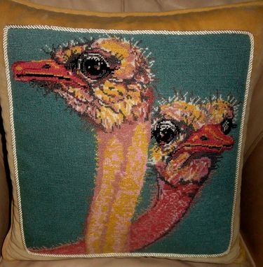 Custom Made Ostrich Needlepoint Pillow