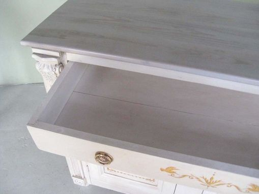 Custom Made White Antique Style Server With Painted Filigree