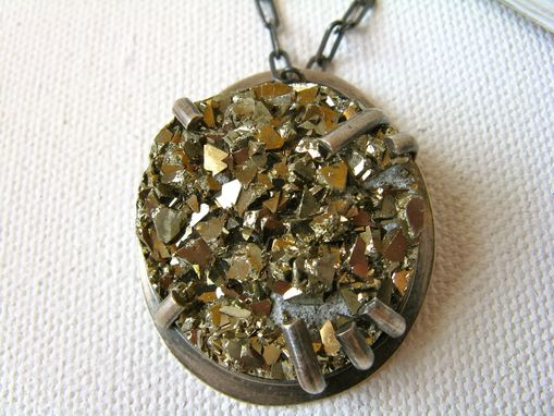 Custom Made Druzy Pyrite And Sterling Silver Industrial Necklace