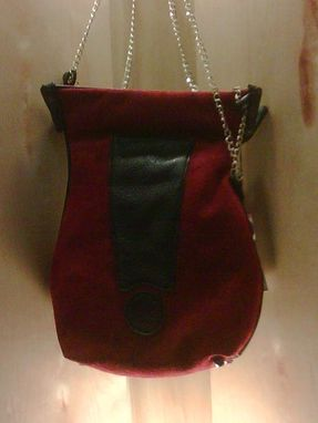 Custom Made Handbag:Red Suede And Black Leather, Excitement!