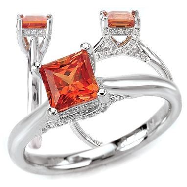 Custom Made 18k Gold 5.5mm Princess Cut Chatham Padparadscha Engagement Ring With Natural Diamond Trellis