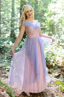 Custom Made Vintage 40s 50s Dress Formal Party Ball Gown Of Pink And Lavender Tulle