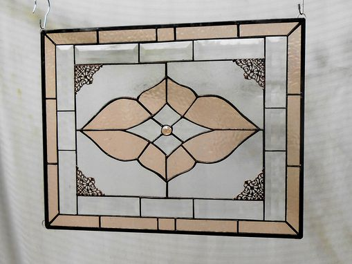 Custom Made Vintage Look Stained Glass Window Panel, Neutral Champagne & Beveled Glass Transom Window