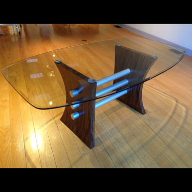Custom Made Modern Glass Top Dining Room Table In Wood And Metal (Pas De Deux)
