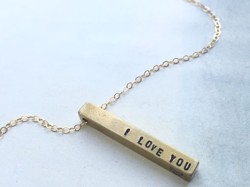 Custom Made Valentine's Necklace, I Love You Bar Necklace