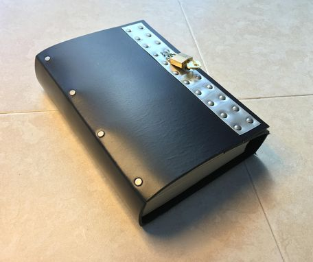 Custom Made Big Black Industrial Goth Lockable Steampunk Leather Journal