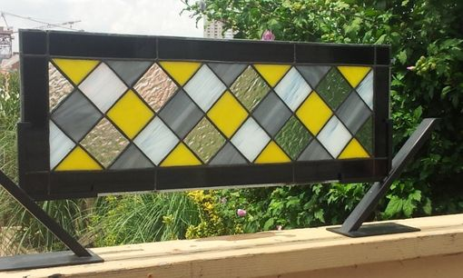 "Custom Made Stained Glass Window -""Diamonds Motif"" (W-31)"